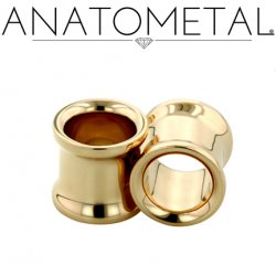 Anatometal 18kt Gold Double Flare Eyelet Tunnel 8g to 1 1/4""