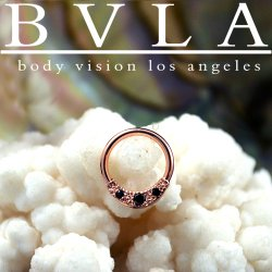 "BVLA 14kt Gold ""Janna"" w/ Gems Septum Seam Ring 16 gauge 16g Body Vision Los Angeles"