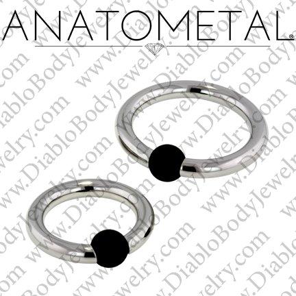 Anatometal Titanium Rubber Ball Captive Bead Ring 8 Gauge 8g