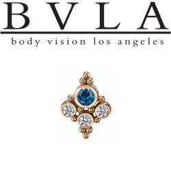 "BVLA 14kt Gold ""Sarai Round"" Threadless Gem End 18g 16g 14g ""Press-fit"""