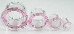 Glasswear Pyrex Glass Single/Double Flare Pink Color Eyelets Pair 0g - 2""