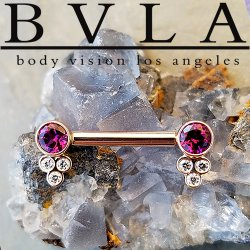 BVLA 14kt Gold Straight Barbell Forward Facing Round Gems in Open Back Bezels with Tri Bezel Gem Clusters 14 Gauge 14g Body Vision Los Angeles