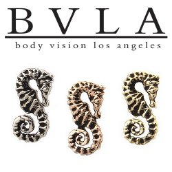 "BVLA 14kt Gold ""Seahorse"" Threaded End Dermal Top 18g 16g 14g 12g Body Vision Los Angeles"