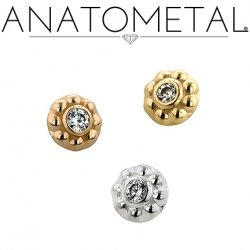 Anatometal 18kt Gold Threaded 3.5mm Ipsa End 1.5mm VS Genuine Diamond 18g 16g 14g 12g