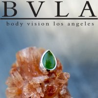 "BVLA 14kt Gold Bezel-set Pear Cabochon 5mm x 3mm Threadless End 18g 16g 14g Body Vision Los Angeles ""Press-fit\"""