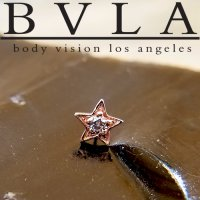 "BVLA 14Kt Gold ""Concentric Star\"" Threadless End 18g 16g 14g \""Press-fit\"""