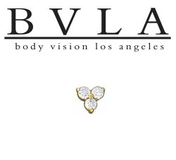 "BVLA 14kt Gold ""Tri Prong Cluster"" 3.5mm Threaded End Dermal Top 18g 16g 14g 12g Body Vision Los Angeles"