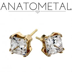 Anatometal 18Kt Gold 6mm Princess Earrings (Pair)
