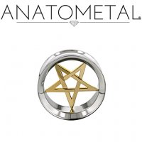 "Anatometal Stainless Steel Eyelet 18Kt Gold Pentagram Insert 7/16"" to 7/8"""