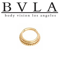 "BVLA 14kt Gold ""Zara"" Septum Clicker Ring 12 gauge 12g Body Vision Los Angeles"
