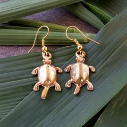 Pre-Columbian Design Bronze Turtles Earrings #1 (Pair)