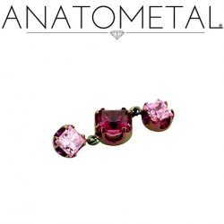 Anatometal Titanium Threaded 3mm Princess-cut Gem End w/ 4mm 3mm Princess-cut Dangles 18 gauge 16 gauge 14 Gauge 12 Gauge 18g 16g 14g 12g
