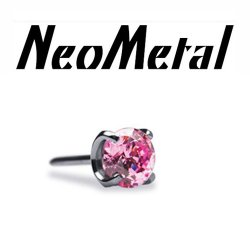 "18 Gauge 18g NeoMetal Threadless Titanium Prong-Set Gem 3.0mm ""Press-fit"""
