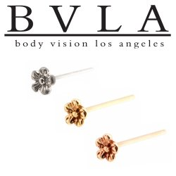 "BVLA 14kt Gold ""Buttercup"" Nostril Screw Nose Bone Ring Stud Nail 20g 18g 16g Body Vision Los Angeles"