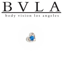 "BVLA 14kt 18kt Gold 3.5mm ""Heart Harlequin"" Threaded End 18g 16g 14g 12g Body Vision Los Angeles"