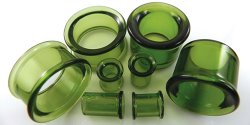 Glasswear Pyrex Glass Single/Double Flare Green Color Eyelets Pair 0g - 2""