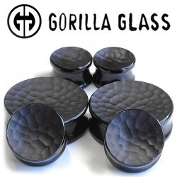 "Gorilla Glass Obsidian Concave Martele Double Flare Plugs 1/2"" to 2"" (Pair)"