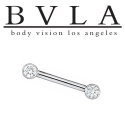 BVLA 14kt Gold Straight Barbell Forward Facing Round Gems in Open Back Bezels 12 Gauge 12g Body Vision Los Angeles