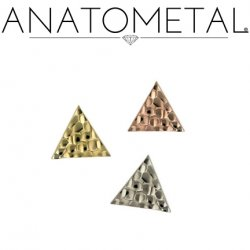 Anatometal 18Kt Gold Hammered Triangle 4mm Threaded End 18g 16g 14g 12g