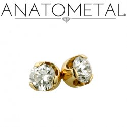 "Anatometal 18Kt Gold Threadless Prong-Set Diamond End 2mm 2.5mm 3mm 18 Gauge 18g ""Press-fit"""