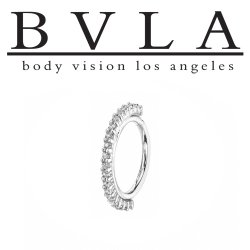 "BVLA 14kt Gold ""Telesto"" 1mm Gems Daith Septum Nose Seam Ring 20 Gauge 20g Body Vision Los Angeles"