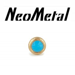 "14 Gauge 14g NeoMetal Threadless 2.5mm Bezel-set Cabochon Gem End 14kt 14 Karat Gold ""Press-fit"""