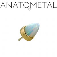 "Anatometal 18Kt Gold Threadless Bullet-Cut Bezel-set Gem End 18 Gauge 18g ""Press-fit"""