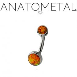 Anatometal Titanium Bezel-set Cabochon Gem Navel J-Curve Barbell Belly Button Ring 16 gauge 14 Gauge 12 Gauge 16g 14g 12g