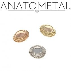 Anatometal 18Kt Gold Threaded Hera End 4mm 5mm 6mm 18g 16g 14g 12g