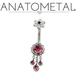 Anatometal Titanium Aurora Navel Curve Belly Button Ring 7mm Flower w/ Dangles 14 Gauge 14g