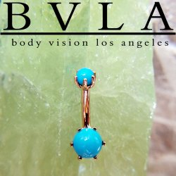 BVLA 14kt Gold Bead Prong Navel Curve Barbell 14g 14 gauge Body Vision Los Angeles