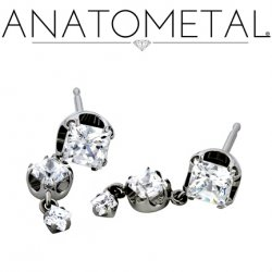 Anatometal Titanium 4mm Princess Earrings with 3mm/2mm Dangles (Pair)