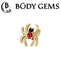 "Body Gems 14kt Gold Venomous Spider Threadless 18 Gauge 18g ""Press-fit"""