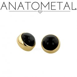 Anatometal 18kt Gold Threaded 5mm Bezel-set Cabochon Gem End 18g 16g 14g 12g