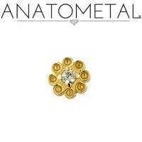 "Anatometal 18kt Gold Dazy Threadless End 2mm Gem 18 Gauge 18g ""Press-fit"""