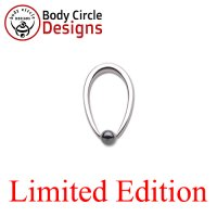"Body Circle Surgical Stainless Steel 5/8"" Tapered Oval Captive Bead Ring with Hematite Bead 12 Gauge 12g"