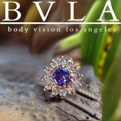 "BVLA 14kt Gold ""The Rose"" 6mm Threaded End Dermal Top 18g 16g 14g 12g Body Vision Los Angeles"