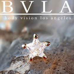 "BVLA 14Kt Gold ""Star Point Prong"" Threadless Gem End 18g 16g 14g Body Vision Los Angeles ""Press-fit"""