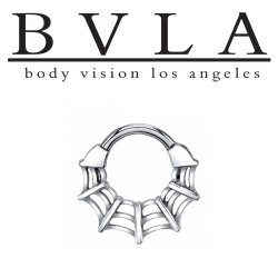 "BVLA 14kt Gold ""Charlotte's Web"" Septum Clicker Nose Ring 14 Gauge 14g Body Vision Los Angeles"