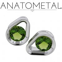 "Anatometal Titanium Single Stone Teardrop Eyelet 7/16"" - 1"""