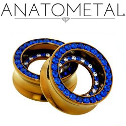 Anatometal Titanium Double Orbit Gem Bling Double Flare Eyelets 0g-2""