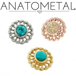 Anatometal 18Kt Gold Threaded Virtue End 3mm Gem 18g 16g 14g 12g