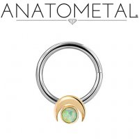 Anatometal Surgical Steel Seam Ring 18kt Gold Crescent Moon 3mm Gem 14 Gauge 12 Gauge 14g 12g
