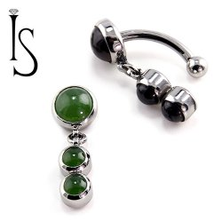IS Titanium Fixed Top Bezel-set Stone Cabochon Gem Curved Barbell w/(2) 4mm Dangles 14 gauge 14g