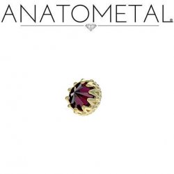 Anatometal 18kt Gold King Threaded End Reversed 3mm Gem 18g 16g 14g 12g