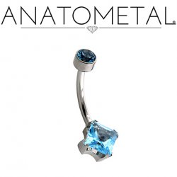 Anatometal Surgical Steel Princess-Cut Gem Navel Curve 14g 12g