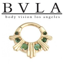 "BVLA 14kt Gold ""Azval XL"" Genuine Diamond Nose Nostril Septum Ring 16g Body Vision Los Angeles"