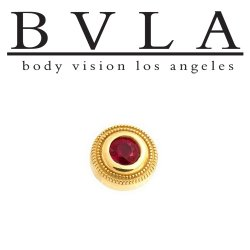 BVLA 14Kt Gold Millgrain Bezel Threaded End Dermal Top 7.5mm 18g 16g 14g 12g Body Vision Los Angeles