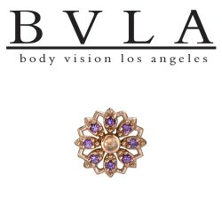 "BVLA 14kt Gold ""Rosette"" Threadless Gem End 18g 16g 14g ""Press-fit"""
