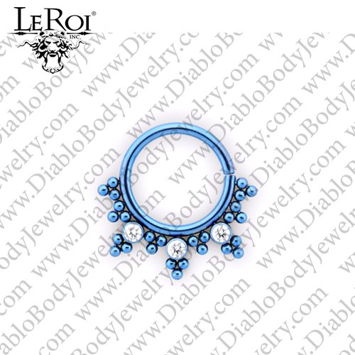 LeRoi Titanium Seam Ring with Bead Design and 2.5mm Gems 18 Gauge 16 Gauge 18g 16g - Click Image to Close